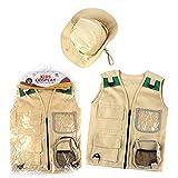 Kit de aventuras al aire libre para niños, Camping Premium Kids Aventura para niños pequeños - Chaleco de carga y sombrero Set de sombrero de 3 a 12 años de edad, disfraz de explorador y vestidos para