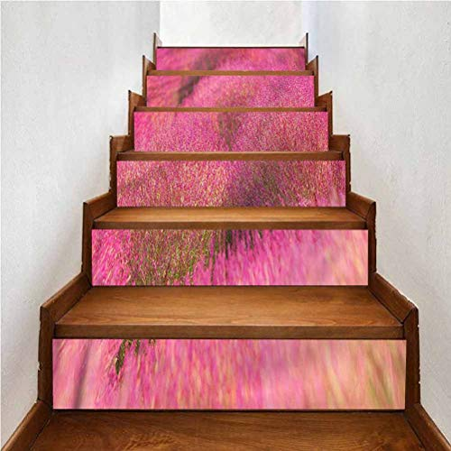 Mural Waterproof Self Adhesive Staircase Decal, Japanese Kochias Hill Ibaraki Japan, for Wedding Home Restaurant Decals, W43.3 x H7.08 Inch x6PCS