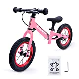 EULANT Bicicleta Sin Pedales para Niños de 2-6 años, Bicicleta de Equilibrio, 12 Pulgadas Neumático, Marco de Aluminio con Freno, Manillar y Asiento Ajustable, Niños, Rosa