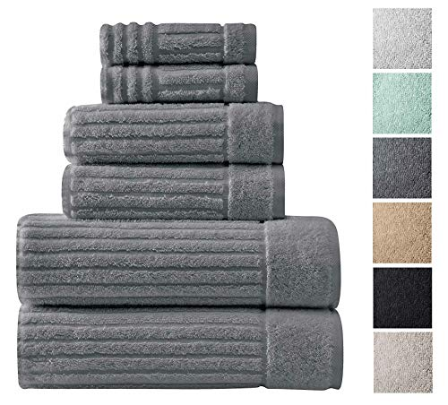 Classic Turkish Towels 6 Piece Heavy Duty Fast Drying Bath Sets Made with 100% Turkish Cotton - Includes 2 Fingertip Towels