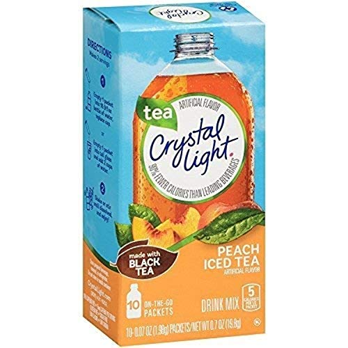 Crystal Light On-the-Go, Peach Iced Tea Drink Mix, 10 CT (Pack of 1)