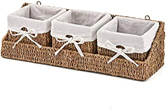 EZOWare Seagrass Basket Storage Container Bins with Tray and Removable Liners for Kitchen, Bathroom Bedroom - Set of 3