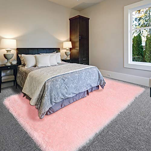Pink Soft Area Rug for Bedroom,5x8,Fluffy Rugs,Furry Rugs for Living Room,Shag Rugs for Girls Baby Room,Shaggy Rug for Kids Room,Fuzzy Rugs for Nursery Dorm Room,Anti-Slip Rug,Pink Carpet,Home Decor