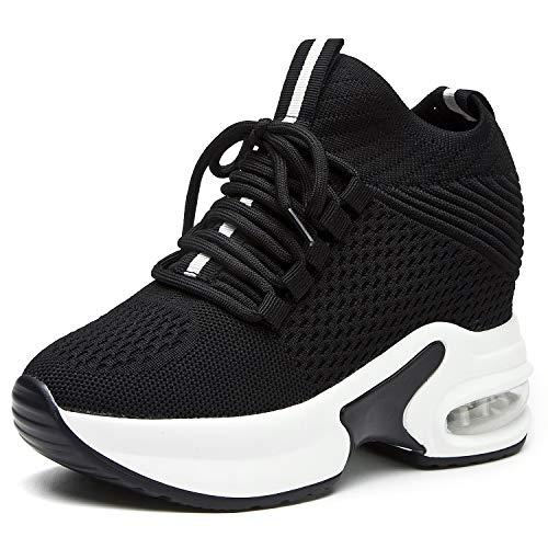 AONEGOLD Zapatillas Deportivas Cuña para Mujer Transpirables Zapatos Wedge Sneakers Tacón Cuña 8CM(Negro 1,40 EU)