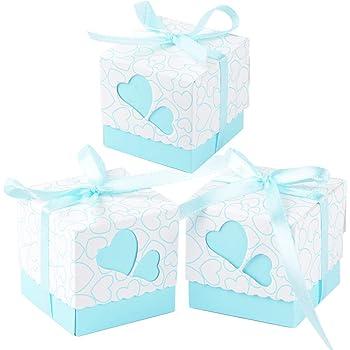 100 × Cajas de Caramelo Dulces Bombones para Boda Fiestas Cumpleaños Bautizo Detalles Recuerdos Decoración Favor para Invitados de Boda (Azul): Amazon.es: Hogar