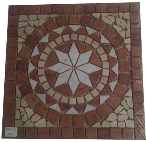 Antikmarmor Rosone 33x33 Windrose Mosaik Fliesen Naturstein Rosso Verona 021