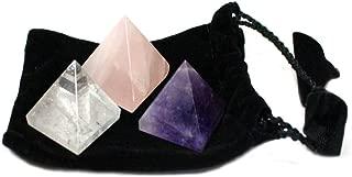 3 Chakra Pyramids - Black Velvet Bag - Rose Quartz, Quartz, Amethyst Rock Paradise COA