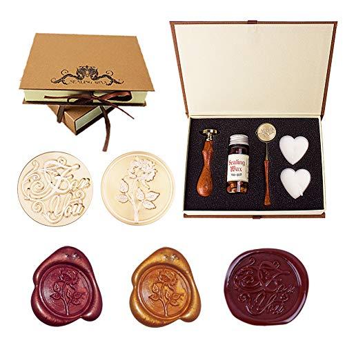 Xiangmall Personalisierte Wachssiegel Stempel Kit mit Schmelzlöffel Siegellack Geschenk für Geburtstage