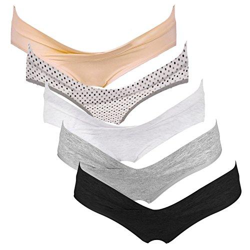 Intimate Portal Damen Schwangerschaftsunterhosen Umstands Postnatale Slips aus Baumwolle Umstandsmode Unterwäsche 5er Pack M Neutrale Farben