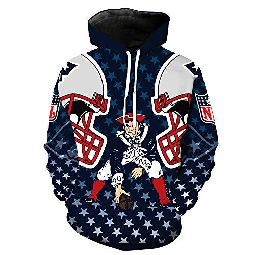SZRXKJ Herren Hooded Langarm 3D Digitaldruck Amerikanischer Fußball Team Pullover Hoodies Kapuzenpullis Kapuzenpullis(S,Navyblau)
