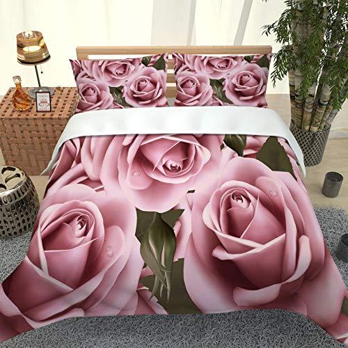 ZPOEQW Juego De Ropa De Cama 180X220cm 3 Piezas Impresión Rosa Rosada 3D Juego De Funda Nórdica De Microfibra para Cama 105, 1 Funda De Edredón Y 2 Fundas De Almohada 50X75cm