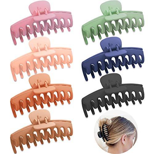Larcenciel Haarklammer, Kunststoff Haarspangen Rutschfeste Haarklauenclips Einfache Haarkrallen Dicke Haare Klaue Groß Haarnadel Matt Haargreifer Haarschmuck Haar Zubehör für Frauen (7 Stück)