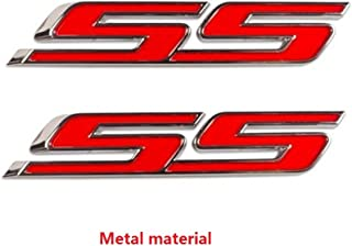 Yoaoo 2x OEM Chrome Ss Emblems Metal Decal 3D Logo for Camaro Zl1 1Le Series (2x Red)