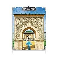 クリップボード A4 アラビアスタイルの彫刻とフラワープリントの装飾的な多色のアフリカスタイルの伝統的なモロッコ建築 学用品A4 バインダー A4 タテ型 クリップファイル ワードパッド ファイルバインダー 携帯便利