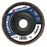 Weiler 51109 Tiger Paw High Performance Abrasive Flap Disc, Type 27 Flat Style, Phenolic Backing, Zirconia Alumina, 4-1/2 Diameter, 7/8 Arbor, 60 Grit, 13000 RPM (Pack of 10) by Seagate