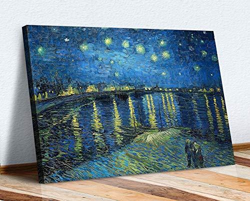RuiChuangKeJi Magnífico Cuadro 30x50cm Sin Marco Tienda de Arte en Lienzo Van Gogh Lona Arte DE Pared IMPRESIÓN Imagen DE ILUSTRACIÓN Noche Estrellada sobre EL Rhone