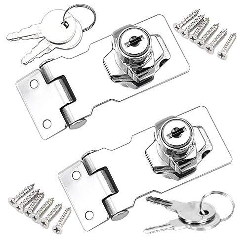 YUOIP® Cerradura de para cajones Cierre de hebilla Candado para muebles,armarios,cajones,Buzón,Casillero (2.5 pulgadas)(2 piezas)