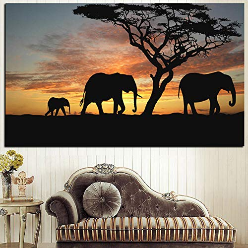 Tree African Elephant Sunset Landscape Painting Print on Canvas Art Wall Picture for Living Room Decor 60x90 CM