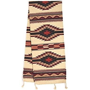 Large Southwest & Native American Style Table Runner made from Hand Woven Wool. 16  x 80  (Black Diamond J)