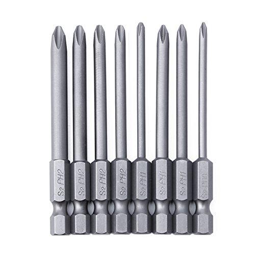 Ontracker 8 destornilladores magnéticos de cabeza cruzada de acero y aleación de 75 mm de longitud y 6,35 mm de longitud