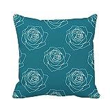 N\A Throw Pillow Cover Artistic Rose Pattern in Teal Classic Page Cortinas Funda de Almohada nórdica Funda de Almohada Cuadrada Decorativa para el hogar Funda de cojín