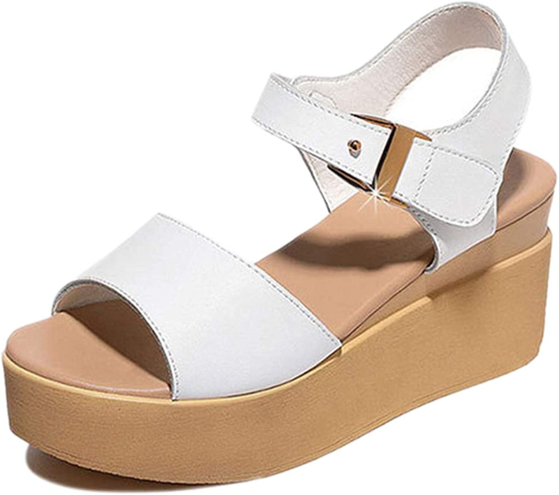 Frauen Keil Sandalen Plattform Knchelriemen Komfort Open Toe Sommer Student Leder Flache Schaltflche Damenschuhe