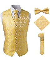 SuiSional Paisley Rose Gold Vest Set for Men for Tailcoat with Pockets,Gold,4XL