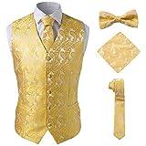 Paisley 4 Pieces Precious Jacquard Paisley Suit Gold Vest for Men,Gold,3XL