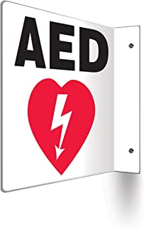 "Accuform PSP708 Projection Sign 90D, Legend""AED"" with Graphic, 8"" x 8"" Panel, 0.10"" Thick High-Impact Plastic, Pre-Drilled Mounting Holes, Red/Black on White"