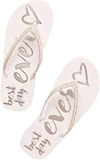 Rhinestone Trim Best Day Ever Flip Flops Style BESTDAYFFV2
