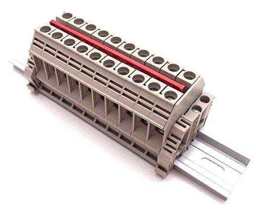 Dinkle Solar Combiner DK10N 10 Gang Box Connector DIN Rail Terminal Blocks, 6AWG, 60 Amp, 600V