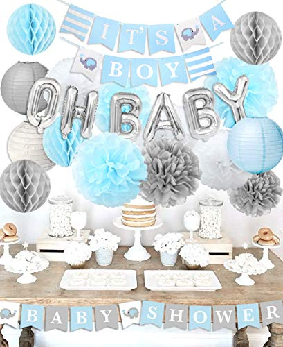 Boy Baby Shower Decorations - It's A Boy Baby Shower Decorations Kit with Elephant It's A Boy Baby Shower Banner
