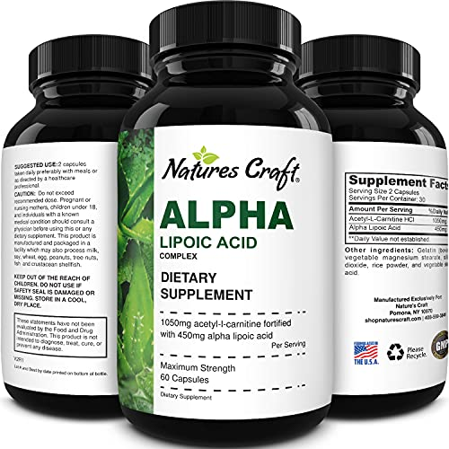 naturals alpha lipoic acids Pure Alpha Lipoic Acid Supplement with Acetyl L-Carnitine - Natural ALA ALC Amino Acids Boost Memory Support Mental Performance and Raise Energy Levels Metabolism - 60 Capsules