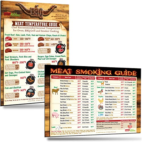 """Best BBQ Gifts Set: Cool BBQ Grill Meat Temperature Guide Chart and Must-Have Meat Smoking Guide (31 Meats) Outdoor Magnets 8""""x11"""" Big Text Smoker Accessories Unqiue Gifts for Birthday"""
