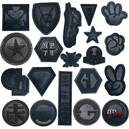 Woohome 20 Pz Patch Sticker, Insignia Negra Parches para Ropa Parche, Parche Termoadhesivo, Parche de Hierro en Patches paraMochila, Gorras, Ropa