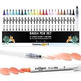 Stationery Island Pinselstifte 24 Farben + 1 Wasserpinsel – Wiederauffüllbare Aquarell Brush Pens Mit Echter Pinselspitze. Für Kalligraphie, Beschriftung, Bullet Journal, Zeichnen & Farbgestaltung