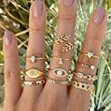 BERYUAN Trendy Gold Mid Finger Rings for Women Rings Set Eye Knuckle Rings for Girls Teens Jewelry Rings Size 3.5,4,4.5,5,5.5,6,6.5(11Pcs)