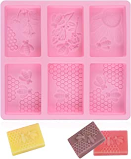 SJ 3D Bee Silicone Molds, Honeycomb Molds for Soaps, Rectangle Cake Baking Mold, Resin Mold Beehive Candle Mold for Homema...