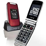 Großtasten Mobiltelefon, Seniorenhandy MB 100 Bordeaux rot, Klapphandy u.a. mit Kamera, Notruftaste, sprechender