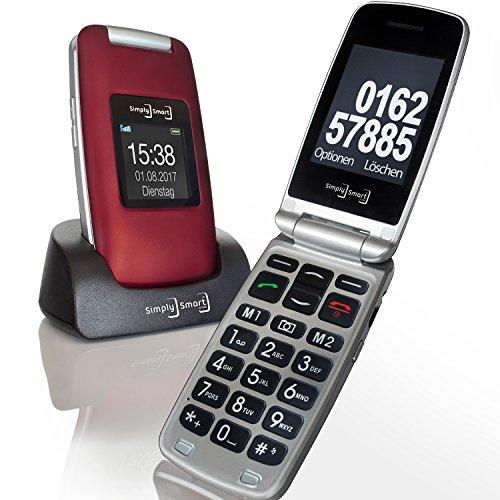Großtasten Mobiltelefon, Seniorenhandy MB 100 Bordeaux rot, Klapphandy u.a. mit Kamera, Notruftaste, sprechender Tastatur, sowie LED Lampe