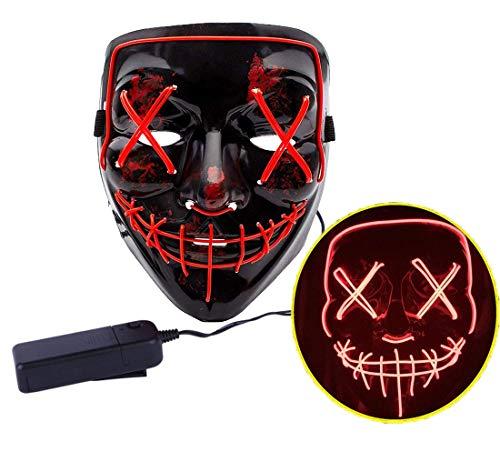 Ptsaying Halloween Led Maske, Led Purge Maske leuchten Maske gruseligsten Halloween-Maske für Erwachsene, Männer und Frauen.
