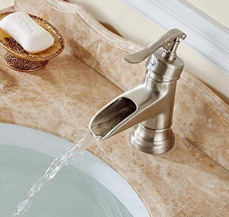 Waschbecken Wasserhahn Nickel gebürstet einzigen Handgriff heien und kalten Wasserhahn Bad Deck InsGrößetion kurzen Wasserhahn