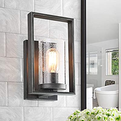 LALUZ Rustic Bath Vanity Light Fixture Wall Sconces with Seeded Glass