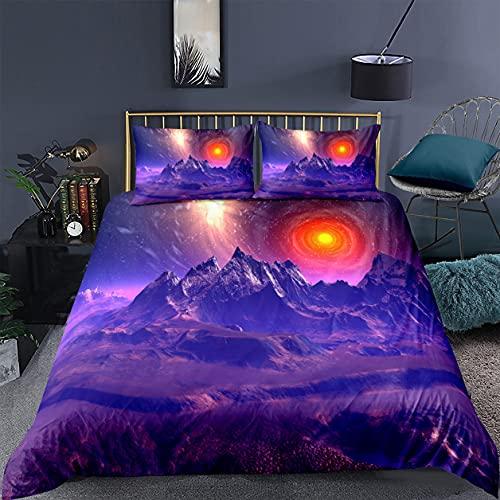 Juego de Funda Nórdica Dream Galaxy Ropa de Cama para el Espacio Exterior Universo Cielo Estrellado Nebulosa Remolino Microfibra Funda de Edredón Niños Sueño Cómodo (Colorful D, Cama 135 cm)