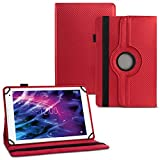 UC-Express Tablet Hülle für Medion Lifetab E6912 Tasche Schutzhülle Cover 360° Drehbar Hülle, Farben:Rot