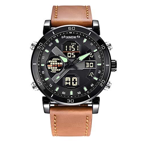 Banbry Reloj para Hombre,Relojes Hombre Acero Inoxidable Impermeable Deportes AnalóGico Digital Cuarzo Reloj Negocios CronóGrafo Relojes Hombre