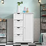 WATERJOY Storage Cabinet,Standing Wooden Cabinet with 4 Drawers Floor Cabinet and 1 Door with 2 Layers Storage Shelf,Bathroom Storage Cabinet,Entryway Cupboard, Toy Organizer Cabinet White