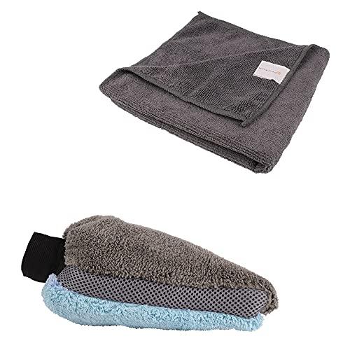 BONORUM Guanto in Microfibra incl. Panno in Microfibra - Guanto per Lavare per Una Pulizia e Delicata lucidatura – Altamente Assorbente Guanto per Lavaggio Auto (1pcs)