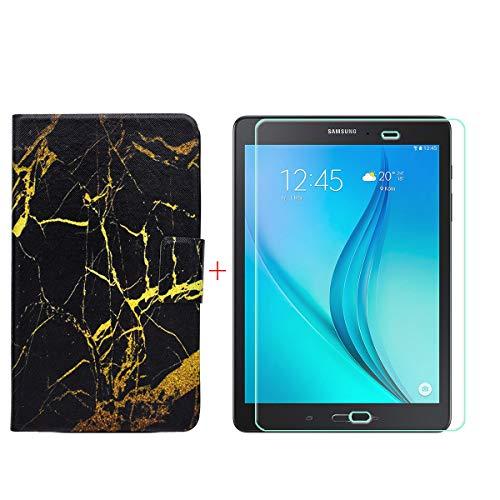 YZKJ PU Hülle + HD Panzerglas Schutzfolie für Samsung Galaxy Tab A SM-T550/ T555 (9,7