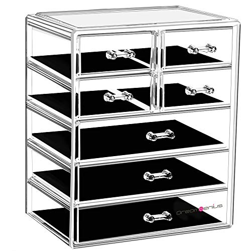 DreamGenius Makeup Organizer Acrylic Cosmetic with 7 Storage Drawers and Jewelry Display Box